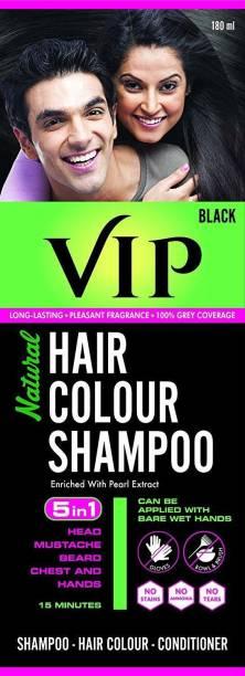 VIP NATURAL HAIR COLOUR SHAMPOO 180 ML , Black