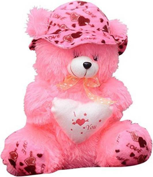 Stuffiez Pink Teddy Bear With Cap, Beautiful Gift for someone special  - 35 cm