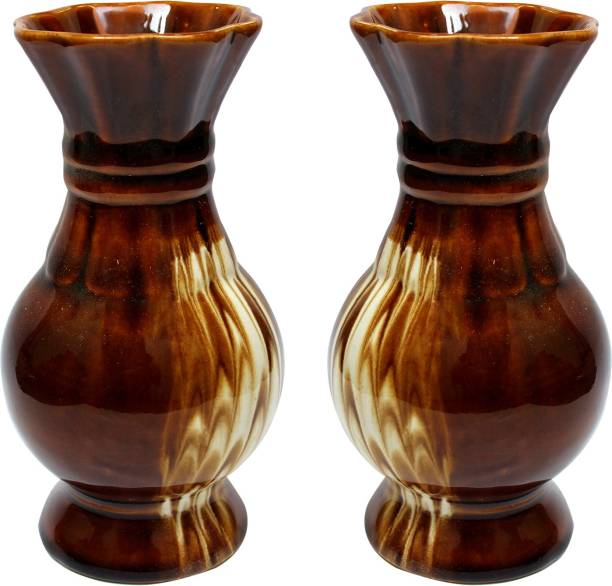 Wauood Gloss Finish Decorative Hand Painted Ceramic Flower Vase For Front Room And Gift Item 19 cm (2) Ceramic Vase