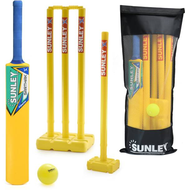 SUNLEY Plastic Cricket kit Youth Size 4 For Age Group 9-11 Years Youth Cricket Kit