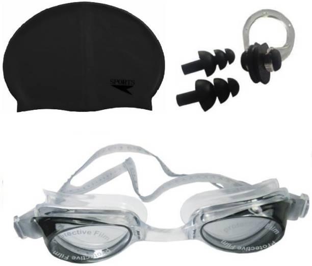 Kamni Sports SWIMMING COMBO SET (CAP ,GOOGLES ,EAR PLUGS) CB-20 Swimming Kit