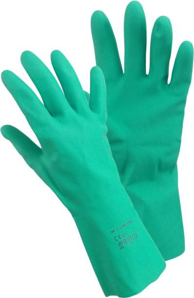 Primeway Rubberex RNF15 Chemicals, Solvents, Oils and Fats Resistant Flocklined, Medium, Super Nitrile  Safety Gloves