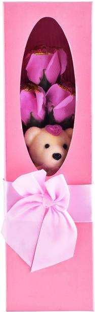 ARCHIES Bear teddy artificial rose bouquet set (pink) Pink Rose Artificial Flower