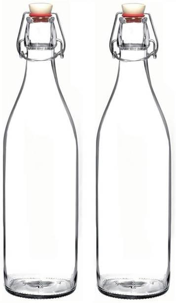 Satyam Kraft (pack of 2)Glass water bottle with swing cap 1000 ml Bottle