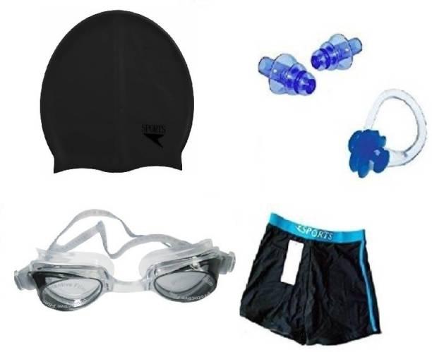 Kamni Sports SWIMMING COMBO SET (CAP ,GOOGLES ,EAR PLUGS ,TRUNKS) CB-34 Swimming Kit