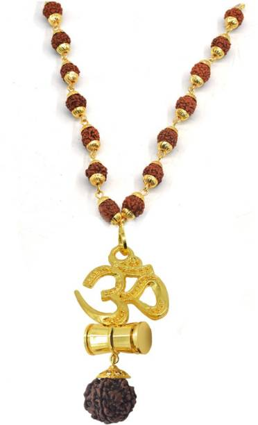 3161fa6a1845 Sullery Religious Jewelry Om Yoga Locket With Panchmukhi Rudraksha Mala  Gold-plated Wood, Brass