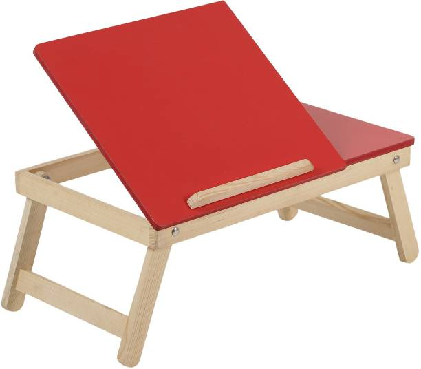 MDN Premium Quality Foldable Multipurpose Laptop/Study/Bed Table (Red) with Side Mini Table for Mouse Wood Portable Laptop Table
