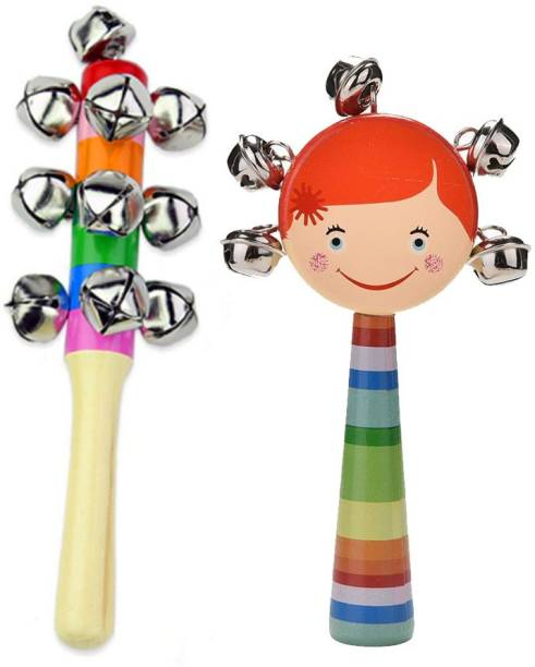 CrazyCrafts Colorful Wooden Rainbow baby Handle Jingle Bell Rattle Toys Pack of 2 Rattle