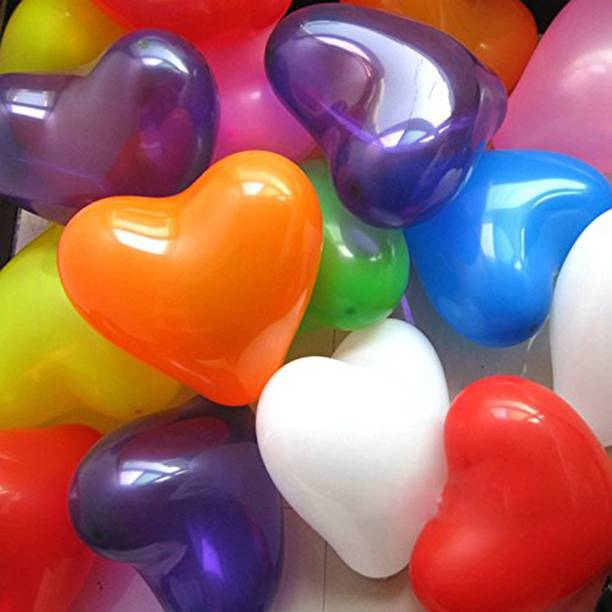 a-one suppliers Solid Latex Heart Shaped Colourful Ballons (Multicolour) - Set of 50 Balloon