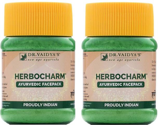 Dr. Vaidya's Herbocharm Powder - Natural facepack with Haldi and Dhania for clear and glowing skin - Pack of 2