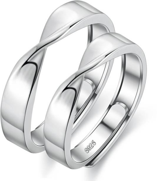e066235264 DesignIN Designin Platinum 925 Silver Plated Adjustable Infinity Fancy  Couple Finger Rings For Women Men Girls