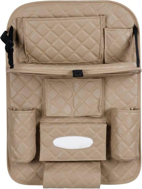 AutoFurnish 7D Designer Car Auto Seat Back Multi Pocket Storage Bag Organizer with Car Meal Tray Car Multi Pocket