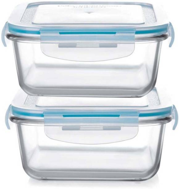 HALO NATION Borosilicate Glass Containers - Microwave Glass Containers - Freezer Safe - Dish Washer Safe - BPA Free - Square Shaped 665 mL each - Set of 2  - 1320 ml Glass Fridge Container