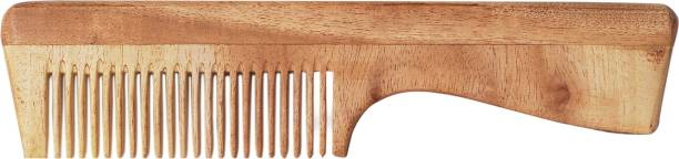 The Legend Organic Pure Neem Wooden Comb with Handle - Crafted by Professional Artisans - Good for Hair - Protects from Growth of Microbes - Helps Hair from dying out, breakage, reduces split ends and many more