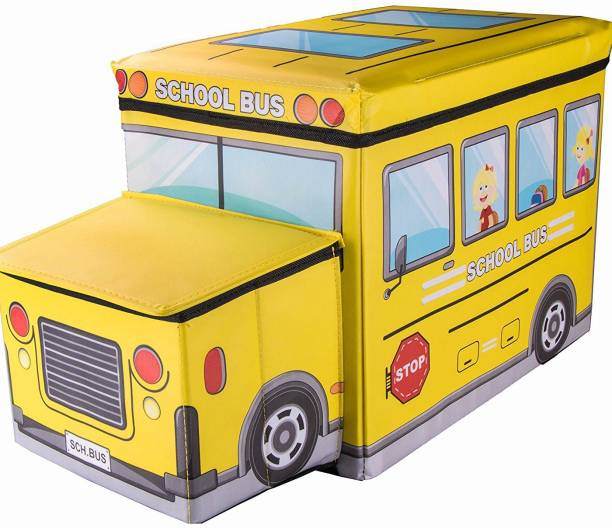 GTC School Bus Shaped Portable and Foldable Laundry Box Folding/Sitting Stool Stool