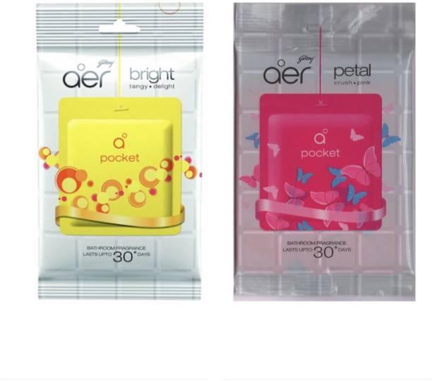 Godrej Aer Pocket Bright Tangy Delight & Petal Crush Pink Air Freshener Blocks