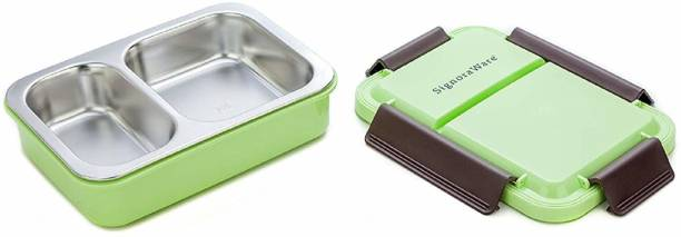 Signoraware Duo Star Steel Green 1 Containers Lunch Box