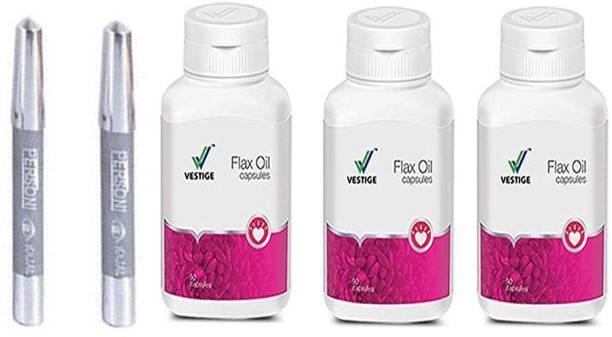 Vestige Flax Oil Capsules 90 Capsules (500Mg) with parsoni kajal 2 pcs (pack of 5 )