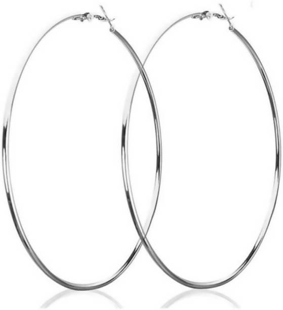 33105c7a3 Saizen Silver Loop 5.7 CM Crystal Brass Hoop Earring Stainless Steel Hoop  Earring