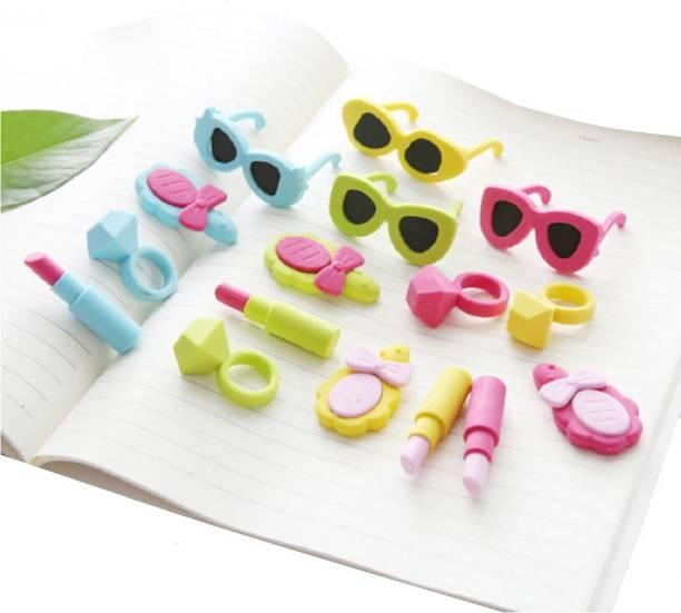Giftshub 16 Pc Fashion Lipstick Diamond Ring Sunglasses Makeup Mirror erasers cute Collection Non-Toxic Eraser