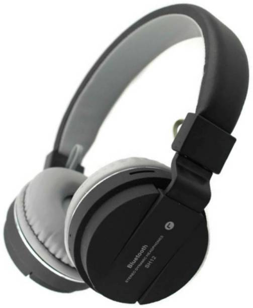 blue seed SH 12 Black Bluetooth Headphone with SD Card Slot Bluetooth Headset