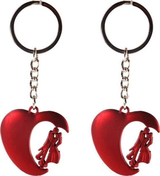 MASHKI 2 NOS VALENTINE SPECIAL KEY CHAIN FOR COUPLES METAL WITH HEART SHAPED Key Chain