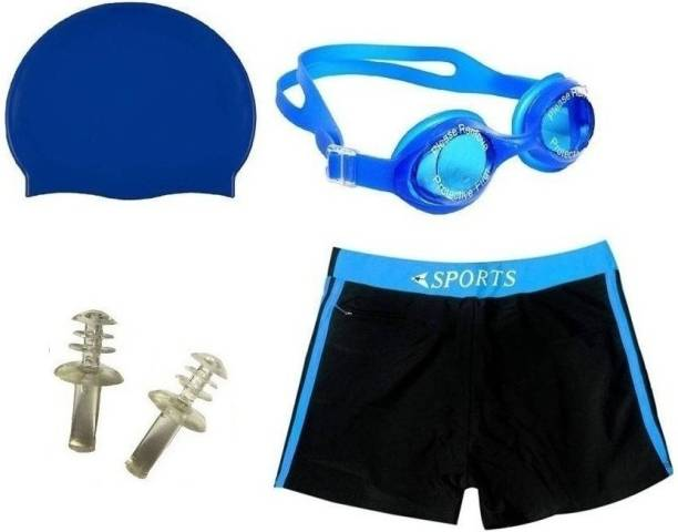 SPORTSHOLIC New Best Swimming Costume Free Size (30-34 waist) With Goggle Cap And Ear Plug For Men Swimming Kit