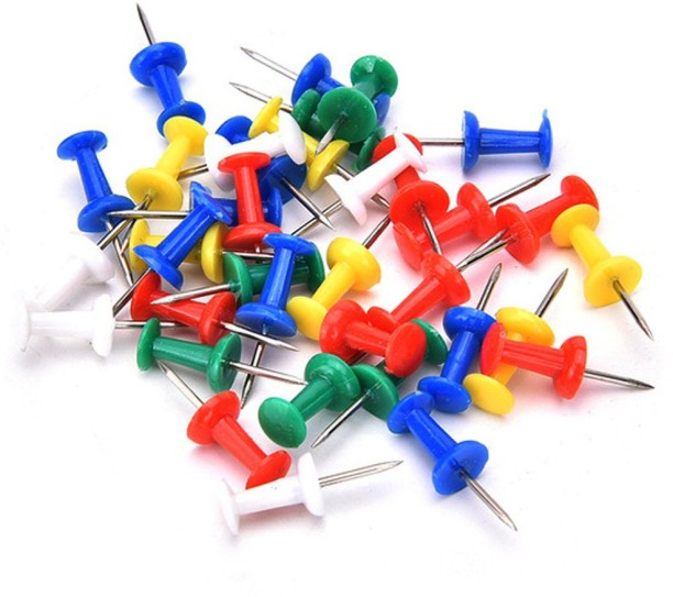 PLASTIC BULLETIN BOARD PUSH PIN TACKS CHROME HOME AND OFFICE 1 STANDARD PACK