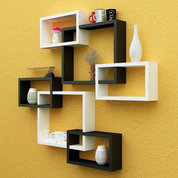 Amaze Shoppee MDF Wall Decoration Intersecting Floating Shelves (Black and white) -Set of 6 MDF (Medium Density Fiber) Wall Shelf