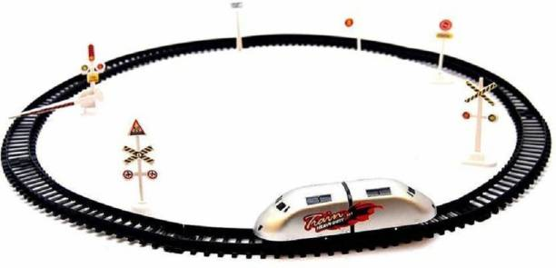 Funlaro High Speed Metro Train with Round Track with Sign Boards for Kids