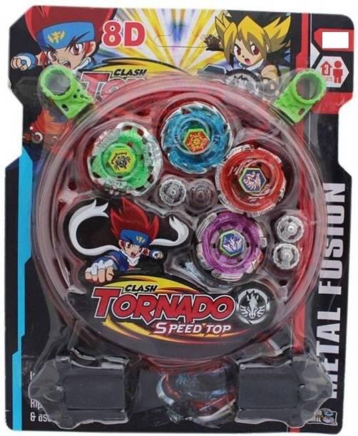 Authfort 4pcs Stadium BeyBlade Clash Tornado Speed Mounting Super Battle Top Metal Fusion (Multicolor) (Multicolor)