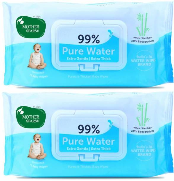 Mother Sparsh 99% Pure Water Based Baby Wipes (Unscented) - Natural Plant made cloth - Super Thick Fabric , 72 Wipes Each , Pack of 2 (Super Saver Pack)