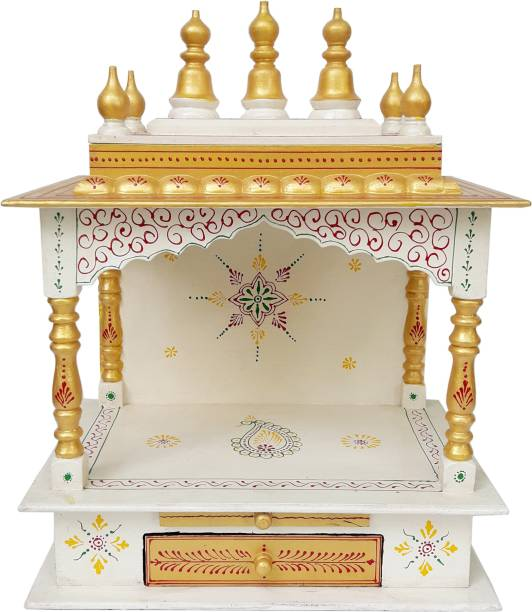 Rajasthani Arts Hand Painted, Wall Hanging Wooden Mandir Solid Wood, Engineered Wood Home Temple