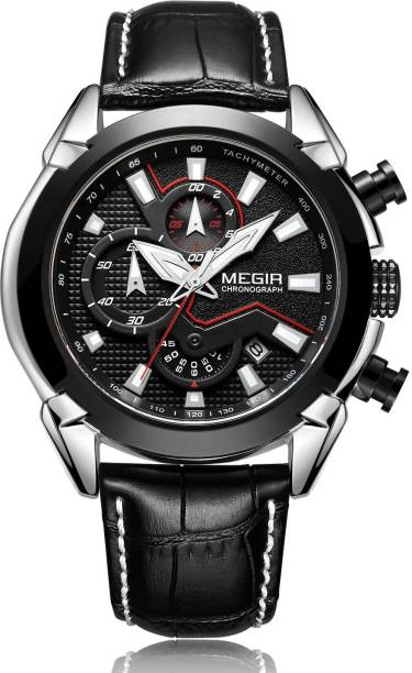 8c0cffb9f6e Megir ML2065-Black Original Quartz Creative Chronograph Men Top Brand  Luxury Army Military Leather Dress