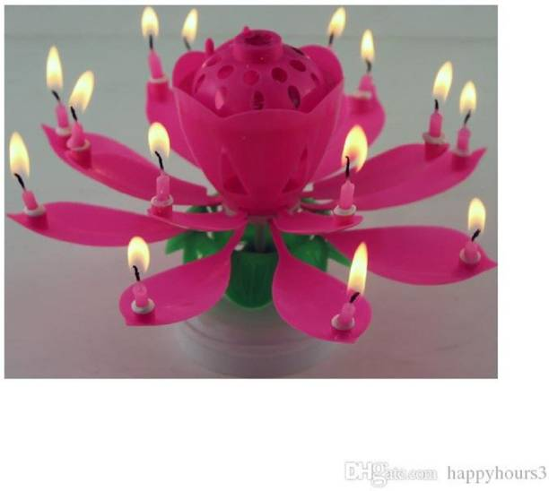 Urvi Creations Musical Lotus Flower Rotating Happy Birthday Candle for Cake Decoration Candle