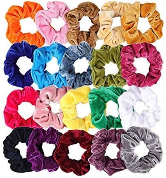 Fameza Multicolour Velvet Elastics Hair Ties Scrunchy Bands for Women -Pack of 12 Pieces Rubber Band