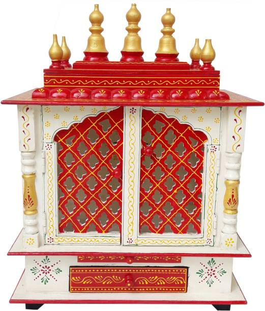 Rajasthani Arts Handmade Hand Painted Multi Color Wooden Mandir Wall Hanging Solid Wood Home Temple