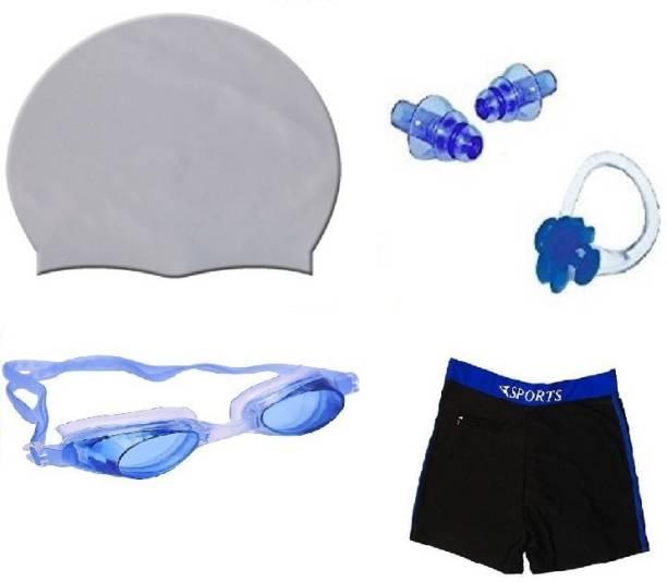 Kamni Sports SWIMMING COMBO SET (CAP ,GOOGLES ,EAR PLUGS ,TRUNKS) CB-42 Swimming Kit