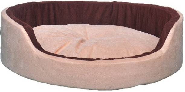 PETSHAVEN Ultra Soft Velvet Round Shaped Reversible Sofa Bed for Dog & Cat (Cream & Brown) S Pet Bed