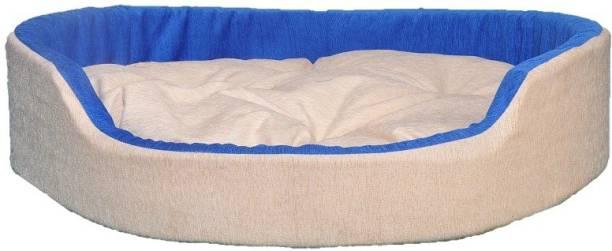 PETSHAVEN Ultra Soft Velvet Round Shaped Reversible Sofa Bed for Dog & Cat (Cream & Blue) S Pet Bed