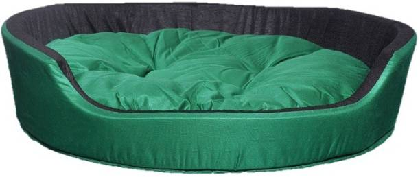PETSHAVEN Ultra Soft Velvet Round Shaped Reversible Sofa Bed for Dog & Cat (Green & Black) L Pet Bed