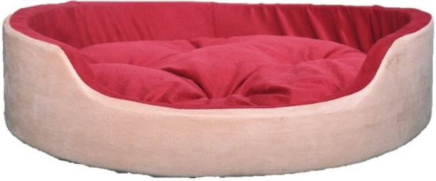 PETSHAVEN Ultra Soft Velvet Round Shaped Reversible Sofa Bed for Dog & Cat (Cream & Red) L Pet Bed