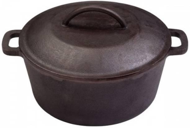 Rock Tawa Dutch Oven 5 Lits in Pre-Seasoned Cast Iron Skillet Pot 5 L with Lid