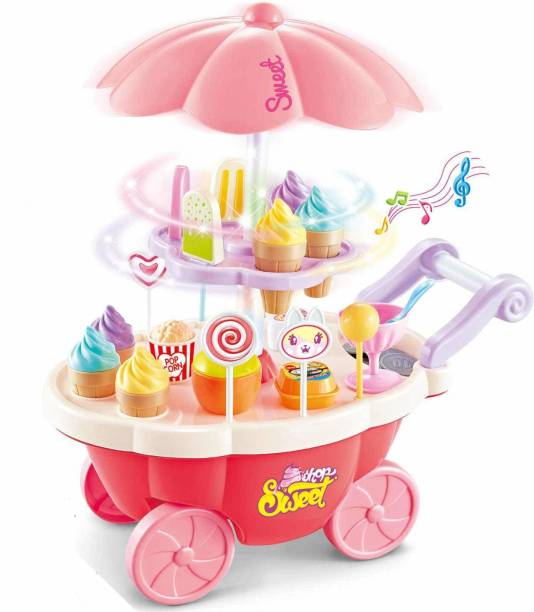 Goodluck Ice Cream set toy, Kitchen Play Cart Kitchen Set Toy with Lights and Music, sweet shop Cart 35 Pcs toy for kids