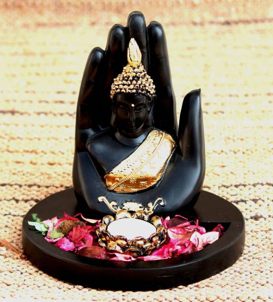 Craft Junction Handcrafted Blessing Palm Buddha With Tealight Holder Wooden Base Decorative Showpiece  -  19 cm