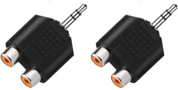 Fedus Black RCA Female to 3.5mm Aux Stereo Male Audio Jack Connector Converted (Black) Pack of 2 Phone Converter
