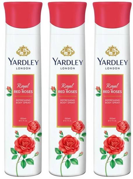 Yardley London Royal Red Rose (pack of 3) Deodorant Spray  -  For Women