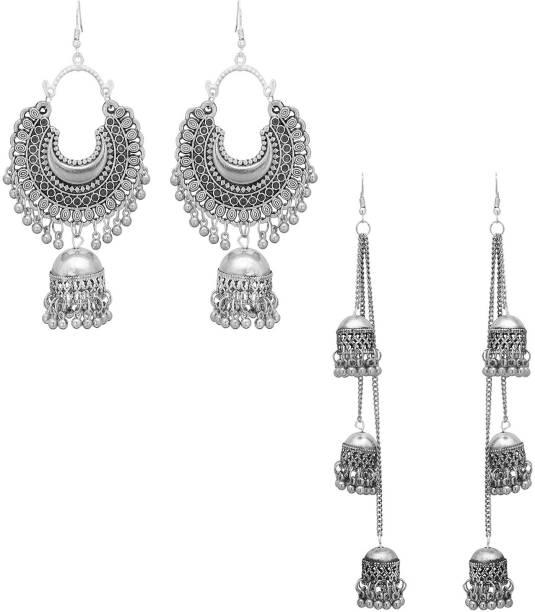 61e2ad303cb975 Oxidized Heaven Oxidized Heaven Combo of 2 Designer Alloy Drops & Danglers,  Jhumki Earring,