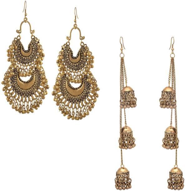 b5fe0337e Oxidized Heaven Oxidized Heaven Combo of 2 Designer Afghani Kashmiri Tribal  Chandbali Oxidized Dangle Long Earrings