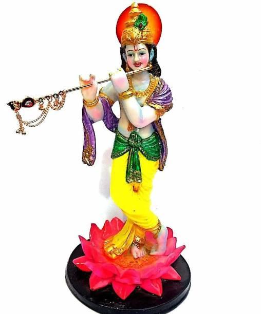 krishnagallery1 Standing Lord Krishna Statue Murti Marble Finish , Radha Krishan Murti , Krishna idol , Love Couple ( For Home Temple Poojan Use , office Temple , Gifted Pooja Idol ) Decorative Showpiece  -  35 cm